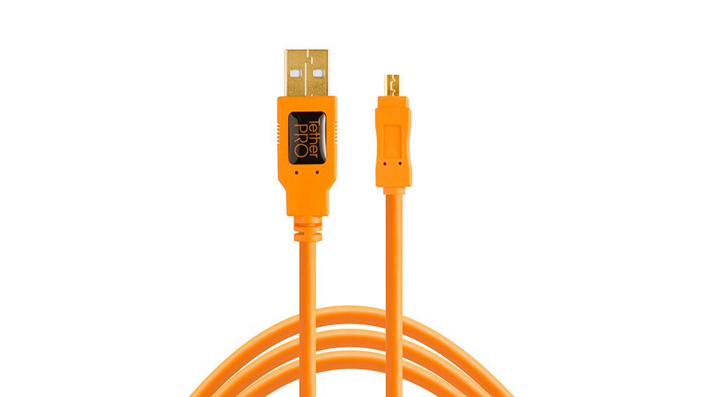 TetherPro USB 2.0 to Mini-B 8-Pin, 15' (4.6m), ORG