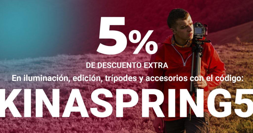 5% de descuento extra iluminación, edición, trípodes y accesorios
